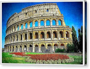 Roman Coliseum Cityscape Canvas Print by Stefano Senise