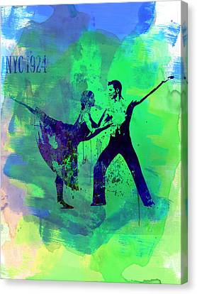 Romantic Ballet Watercolor 1 Canvas Print by Naxart Studio