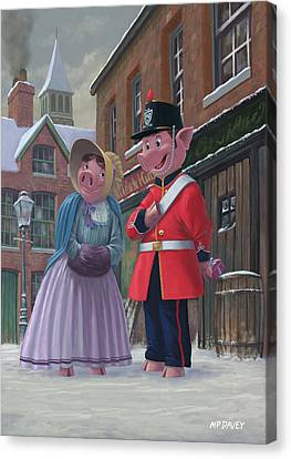 Romantic Victorian Pigs In Snowy Street Canvas Print by Martin Davey
