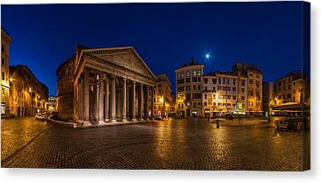 Rome - Pantheon Panorama Canvas Print by Jean Claude Castor