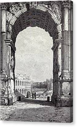 Rome Italy 1875the Coliseum And The Arch Of Constantine Canvas Print by Italian School