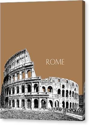 Rome Skyline The Coliseum - Brown Canvas Print by DB Artist