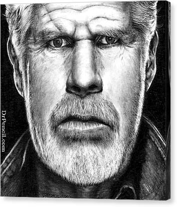 Ron Perlman As Clay Morrow Canvas Print by Rick Fortson