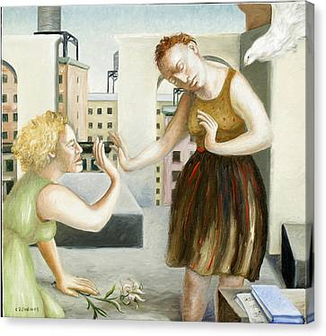 Rooftop Annunciation One Canvas Print by Caroline Jennings