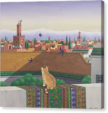 Rooftops In Marrakesh Canvas Print by Larry Smart