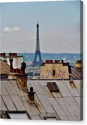 Rooftops Of Paris And Eiffel Tower Canvas Print by Marilyn Dunlap