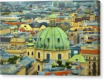Rooftops Of Vienna Canvas Print by Jeff Kolker