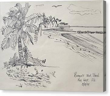 Roosevelt Blvd Beach  Key West Fla Canvas Print by Diane Pape