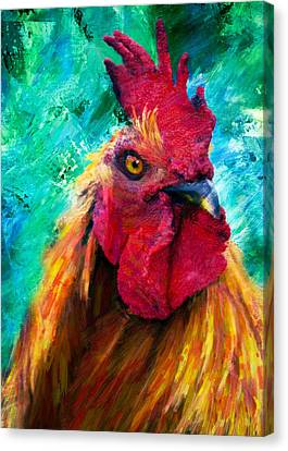 Rooster Colorful Expressions Canvas Print by Georgiana Romanovna