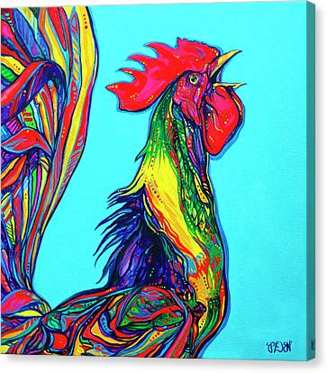 Rooster Crow Canvas Print by Derrick Higgins