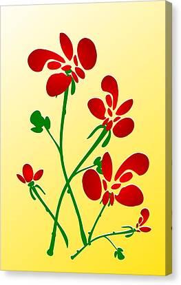 Rooster Flowers Canvas Print by Anastasiya Malakhova