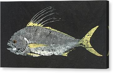 Gyotaku Roosterfish Canvas Print by Captain Warren Sellers