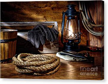Rope In The Ranch Barn Canvas Print by Olivier Le Queinec