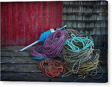 Ropes And Buoy Canvas Print by Darylann Leonard Photography
