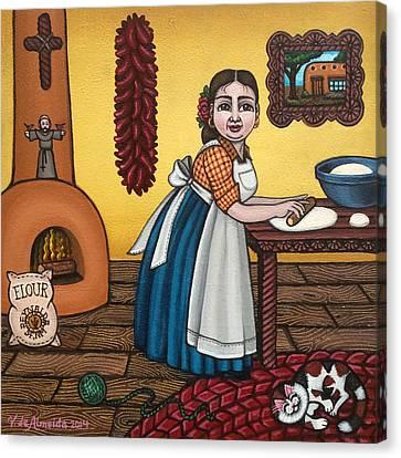 Rosas Kitchen Canvas Print by Victoria De Almeida