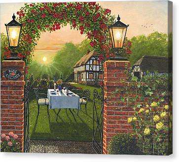 Rose Cottage - Dinner For Two Canvas Print by Richard Harpum
