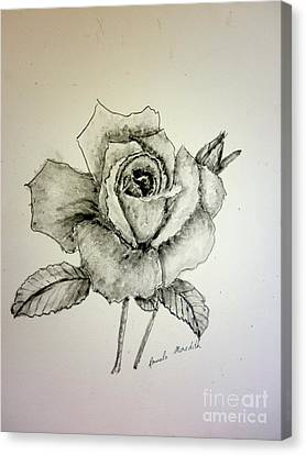 Rose In Monotone Canvas Print by Pamela  Meredith