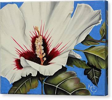 Rose Of Sharon Canvas Print by Karen Beasley