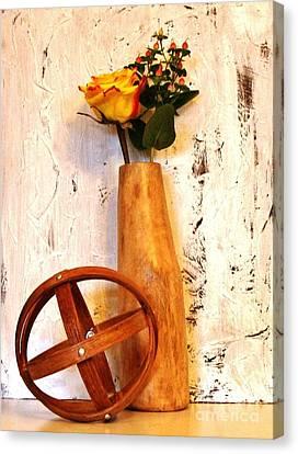 Rose Sphere And Mango Wood Vase Canvas Print by Marsha Heiken