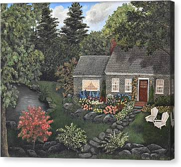Rose Stone Cottage - Oil Painting Canvas Print by Tami Elise