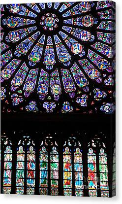 Rose Window . Famous Stained Glass Window Inside Notre Dame Cathedral. Paris Canvas Print by Bernard Jaubert