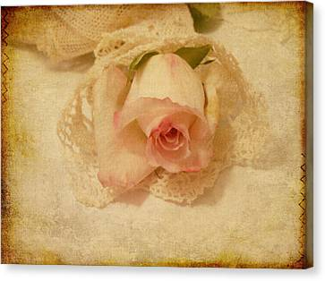 Textures Canvas Print featuring the photograph Rose With Vintage Feel by Sandra Foster