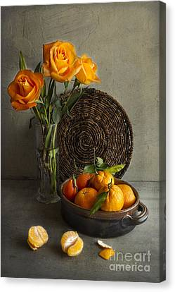 Roses And Oranges Canvas Print by Elena Nosyreva