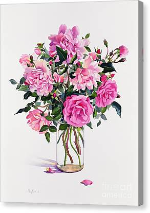 Roses In A Glass Jar  Canvas Print by Christopher Ryland