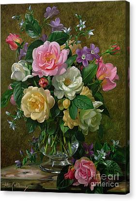Roses In A Glass Vase Canvas Print by Albert Williams