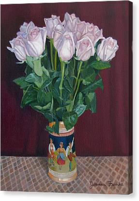 Roses In Beer Stein Canvas Print by Joanna Franke