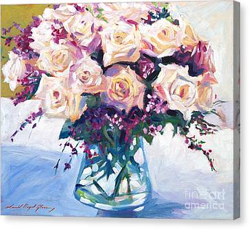 Roses In Glass Canvas Print by David Lloyd Glover