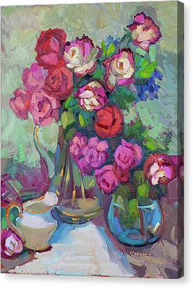 Roses In Two Vases Canvas Print by Diane McClary