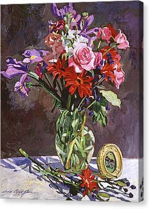 Roses Irises And Gerbras Canvas Print by David Lloyd Glover
