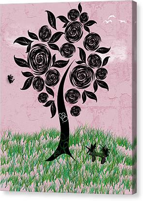 Rosey Posey Canvas Print by Rhonda Barrett