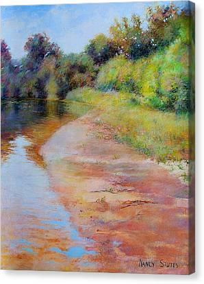 Rosy River Canvas Print by Nancy Stutes