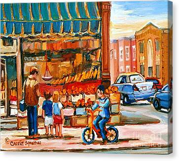 Roter's Fifties Fruit Store Vintage Montreal City Scene Paintings Canvas Print by Carole Spandau