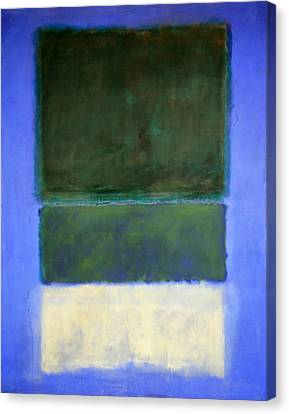 Rothko's No. 14 -- White And Greens In Blue Canvas Print by Cora Wandel