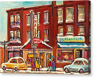 Rotisserie Le Chalet Bar B Q Sherbrooke West Montreal Winter City Scene Canvas Print by Carole Spandau