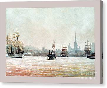 Rouen-tall Ships Canvas Print by Caroline Beaumont