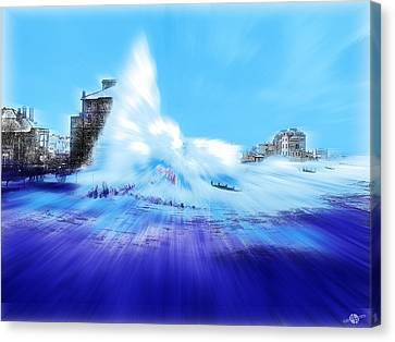 Rough Sea Bognor England Canvas Print by Tony Rubino