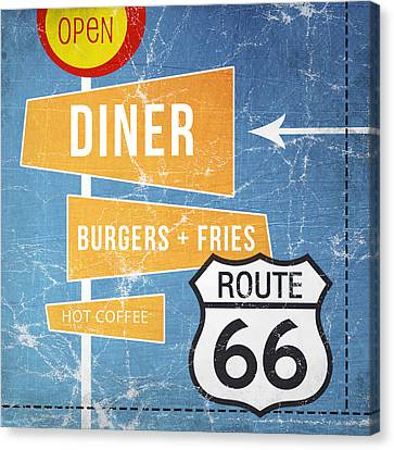Route 66 Diner Canvas Print by Linda Woods