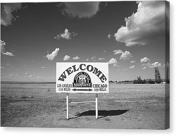 Route 66 - Midpoint Sign Canvas Print by Frank Romeo