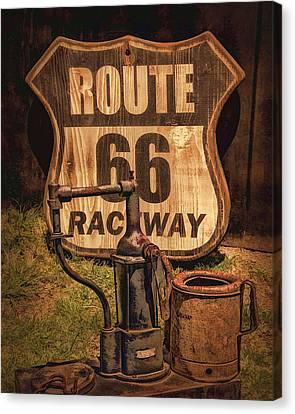 Route 66 Raceway Canvas Print by Priscilla Burgers