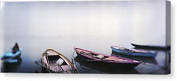 Row Boats In A River, Ganges River Canvas Print by Panoramic Images