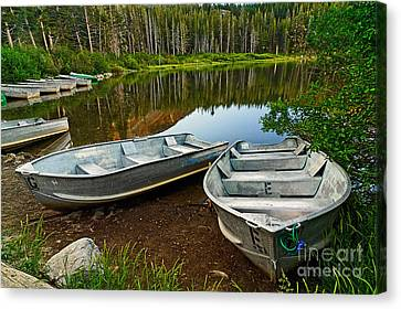 Row Boats Lining A Lake In Mammoth Lakes California Canvas Print by Jamie Pham