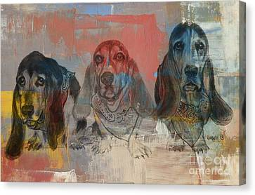 Row Of Basset Hounds Canvas Print by Michelle Wolff