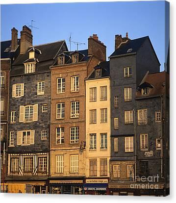 Row Of Houses. Honfleur Harbour. Calvados. Normandy. France. Europe Canvas Print by Bernard Jaubert