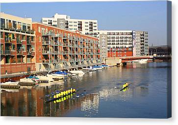 Rowers Milwaukee River 2 Canvas Print by Geoff Strehlow