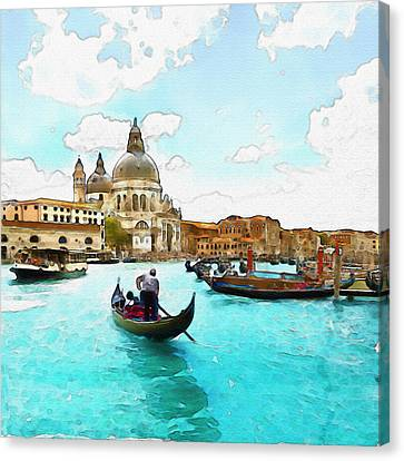 Rowing In Venice Canvas Print by Marian Voicu