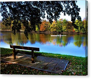 Rowing The Itchen In Autumn Canvas Print by Terri Waters